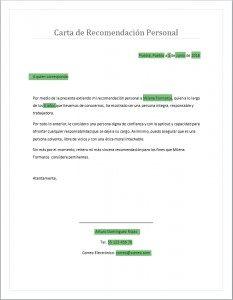 Carta de recomendación personal en word
