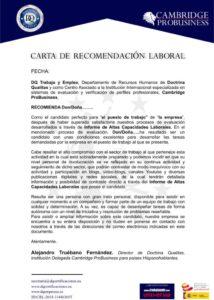 Estructura de una carta de recomendación laboral